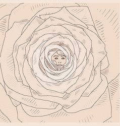 with abstract cartoon rose vector image