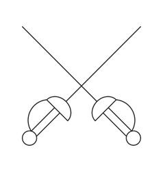 Cross swords thin line icon vector image