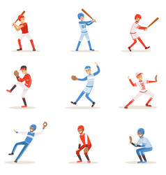 professional league baseball players on the field vector image vector image