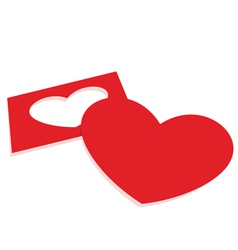 red paper heart vector image