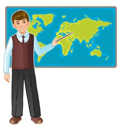 Schoolboy at map of the world eps10 vector image