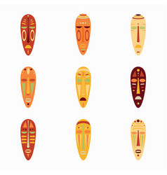 set of colored national ethnick african masks vector image vector image