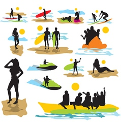 set silhouettes on the beach vector image vector image