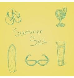 Summer hand drawn set vector image vector image