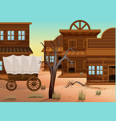 wagon and many shops in western town vector image vector image