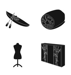 wood furniture sport and other web icon in black vector image