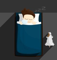 bed sleep time salary man cartoon lifestyle vector image