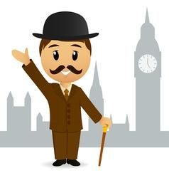 cartoon english gentleman vector image vector image