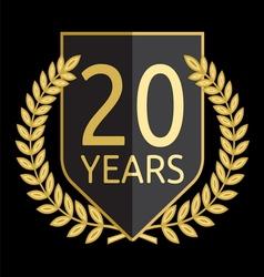 Golden laurel wreath 20 years vector image vector image