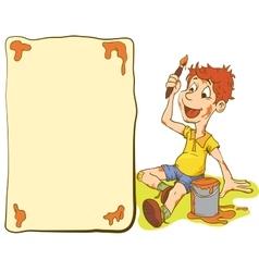 Little Kid Boy Paints a Postcard vector image vector image