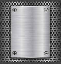 metal plate with screws on perforated texture vector image vector image