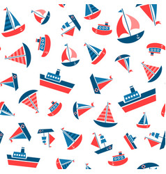 pattern with boat icons vector image vector image