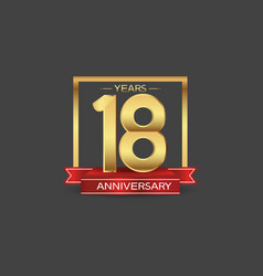 18 years anniversary logo style with golden vector