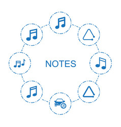 8 notes icons vector image