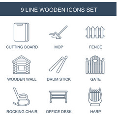 9 wooden icons vector