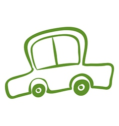 A drawing of a green car vector