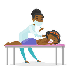 acupuncturist doctor making acupuncture therapy vector image