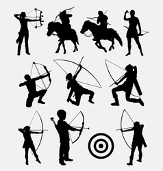 Archery male and female sport silhouette vector image