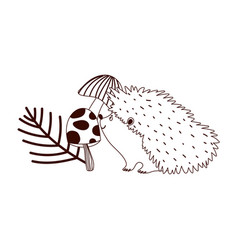 autumn hedgehog mushrooms branch isolated design vector image