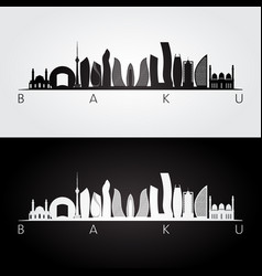 baku skyline and landmarks silhouette vector image