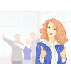 Beautiful young business woman with thumbs up vector