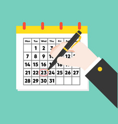 Business hand drawing circle on calendar date vector