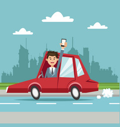 Businessman with smartphone car city background vector