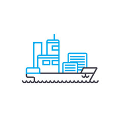 cargo ship thin line stroke icon cargo vector image