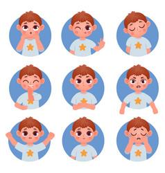 Cartoon little boy avatar face emotions vector