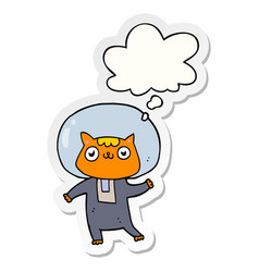Cartoon space cat and thought bubble as a printed vector