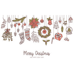 christmas doodle horizontal drawing background vector image