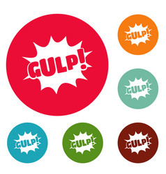 Comic boom gulp icons circle set vector