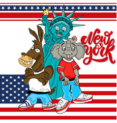 cool democrat donkey republican elephant and statu vector image