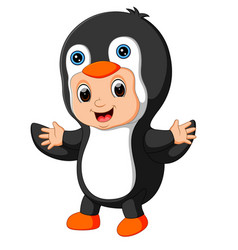 Cute boy cartoon wearing penguin costume vector