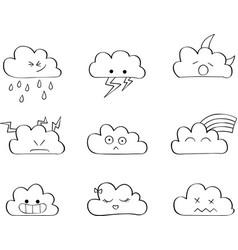 Cute clouds outline kawaii vector