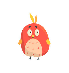 Cute little red funny bird chick round shape vector