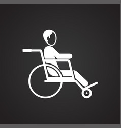 disabled person on wheelchair on black background vector image