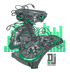 dj robot and party concept electronic sound event vector image