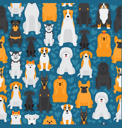 Dogs in seamless pattern isolated animals cartoon vector