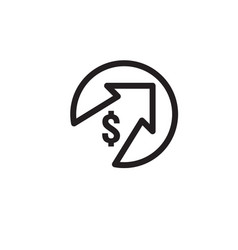 dollar rate increase icon money symbol with vector image