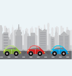 driverless self-driving cars city background vector image