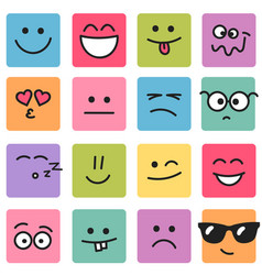 emotional square colorful faces vector image
