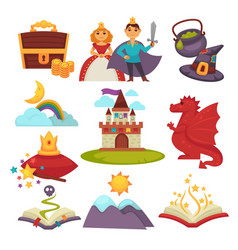 Fairy tale characters and fantastic land isolated vector
