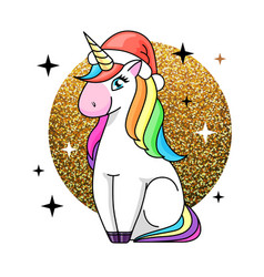 Fantasy animal horse unicorn flat style vector