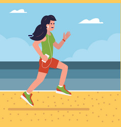 fitness girl running on beach vector image