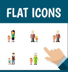 Flat icon relatives set of grandpa grandchild vector