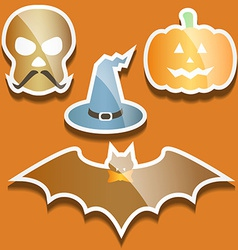 Flat scull pumpkin hat and bat vector image vector image