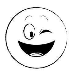 Flirt eye chat emoticon sketch vector