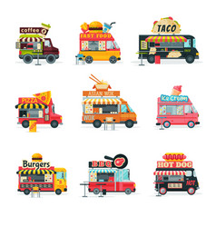Food trucks collection street meal vehicles vector
