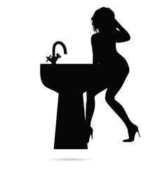 Girl sensual silhouette with sink vector